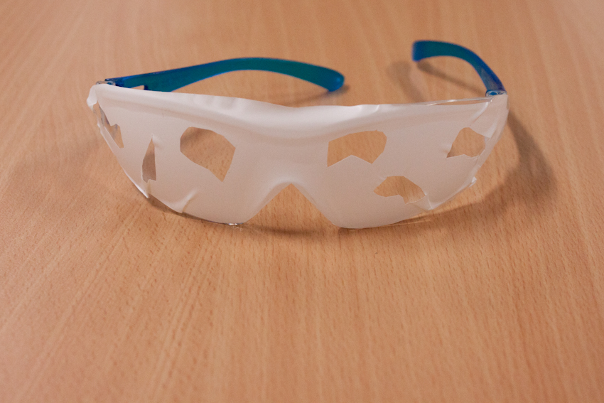 Pedagogy, vision and perspective. A pair of simulation glasses. Image by Cat Jones 2014