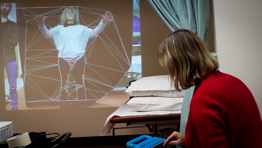 Proximity Clinical in action at UniSA with Susan Hillier, Dan Harvie and participant. Still from video documentation by Cat Jones 2014